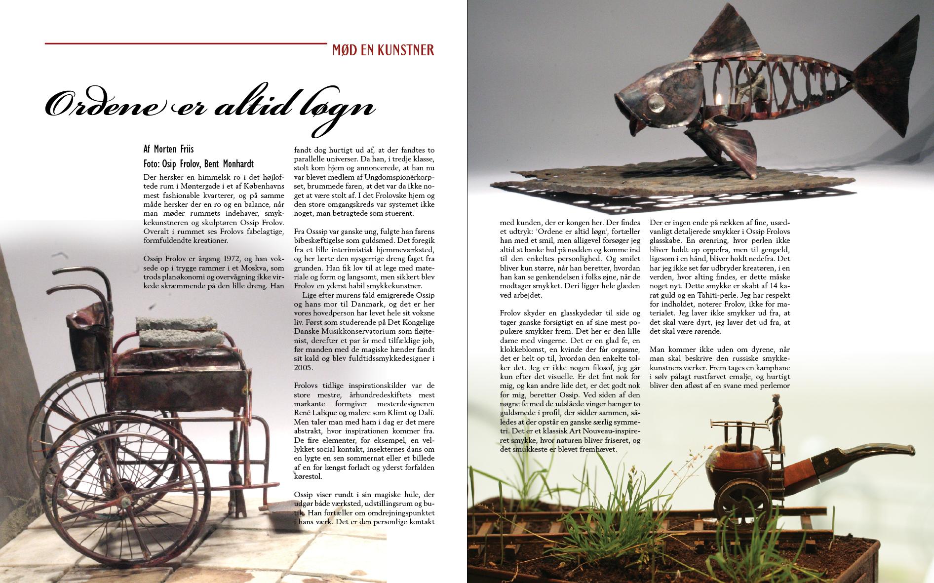 Layout til artiklen om Ossip Frolov, Frolov smykkedesign