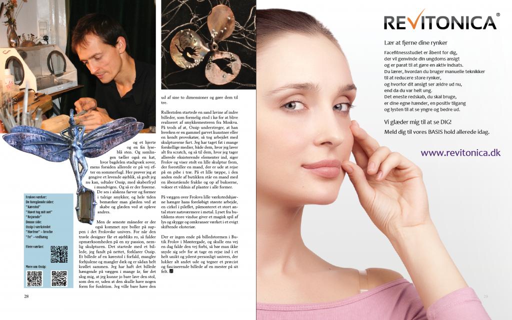 """""""Ordene er altid løgn"""" - artiklen om Ossip Frolov, omslag 2 med reklame for Revitonica - fase fitness studio"""