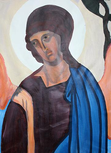 """""""Engel"""" Zenia Grynberg, maleri efter den centrale figur i """"Treenighed"""" af Andrey Rublev"""