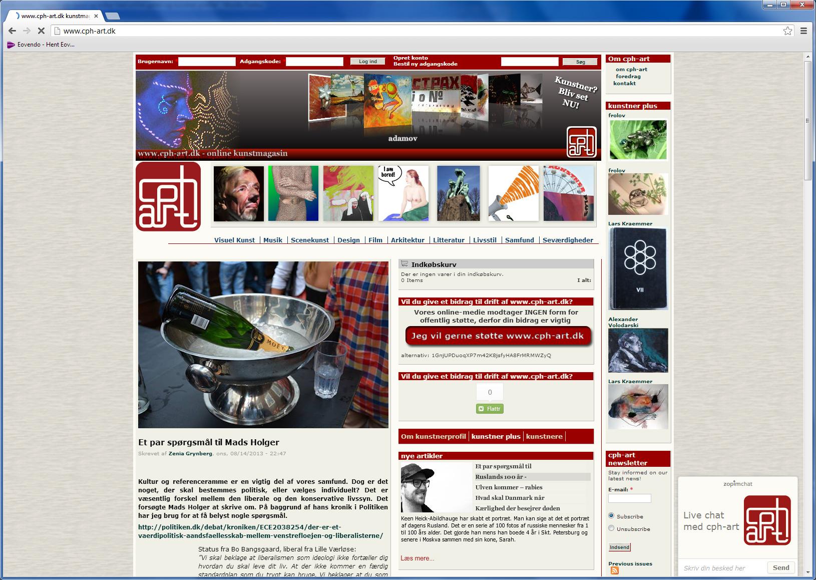 cph-art.dk - online kunstmagasin med kunstnerprofiler, betalingssysten, blogs, gallerier, forum mm