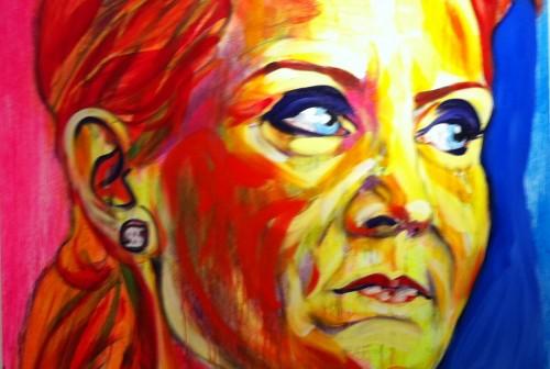 Helle Thorning-Schmidt, udsnit, maleri af Lars Kræmmer
