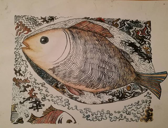 Fisk håndbemalet litografi Zenia Grynberg art